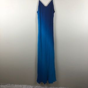 Cache 100% Silk Blue Ombre Gown Size 4